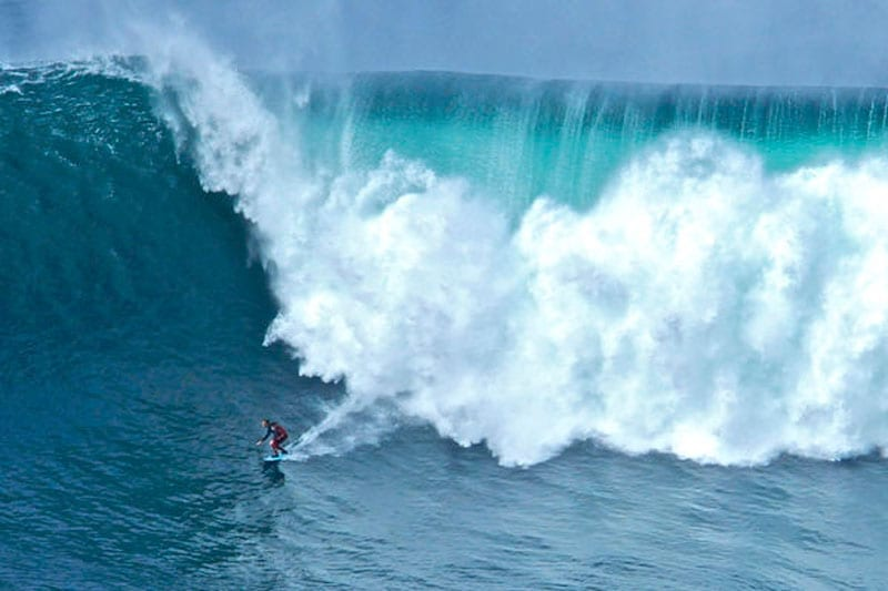 Big wave surfing on Aileen's Wave off the coast of Co