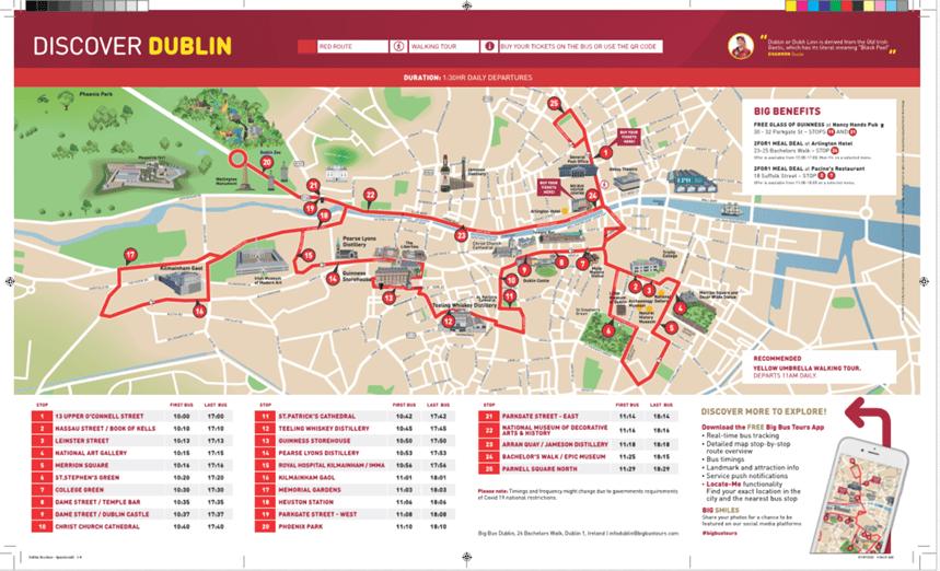 big Bus hop-on hop-off tour of Dublin route